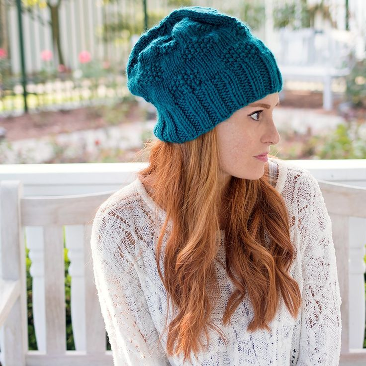 Textured Slouch Hat Knitting Pattern - Gina Michele
