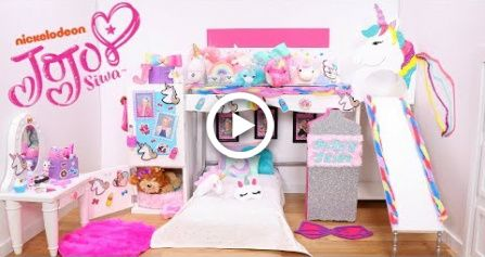 Doll Bunk Bed Slide and Its JoJo Siwa New Bedroom Epic Room Tour With Unicorns & Rainbows