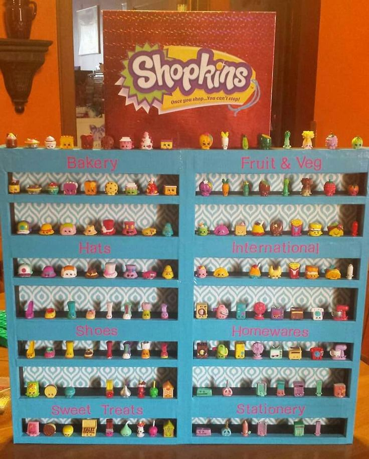 Shelves to display shopkins- made from styrofoam and duct tape!