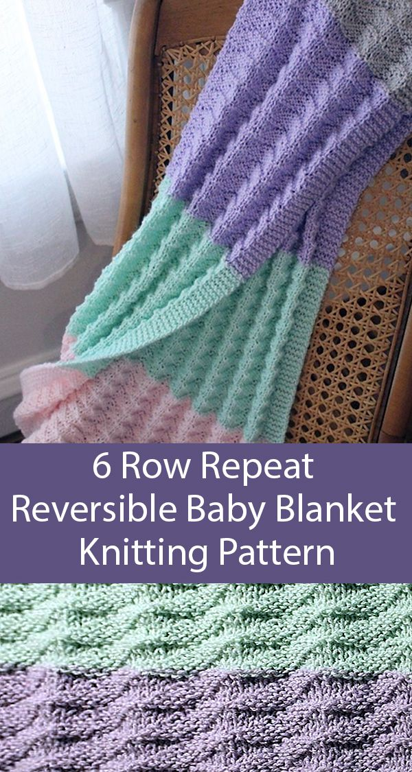 Free Knitting Pattern for Easy 6 Row Repeat Reversible Baby Blanket - Designed w...
