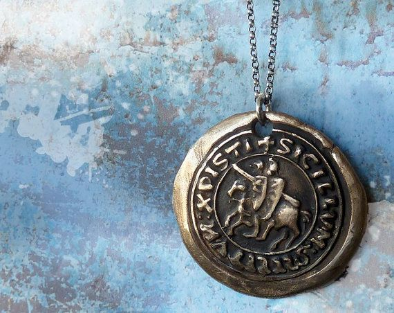 Templar Knights Wax Seal Necklace. Wax Seal Jewelry. Sterling Silver Chain. Bron...
