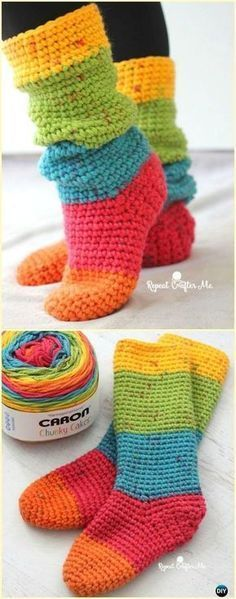 Crochet Caron Cakes Chunky Slouchy Sock Slippers Free Pattern- Crochet High Knee...