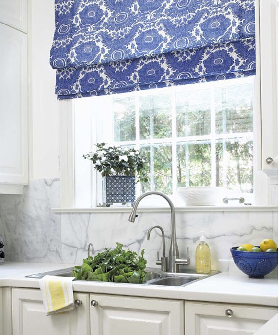 Roman shades CUSTOM sizes QUICK SHIP pick your fabric roman shades blue kitchen ...
