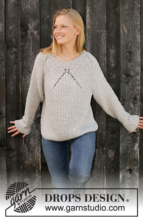 Knitted sweater with raglan in 2 threads DROPS Sky. The work is knitted ...