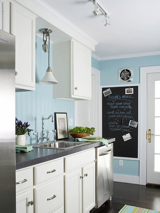 Blue walls.  Also like the idea of having a chalk board, although the overall lo...