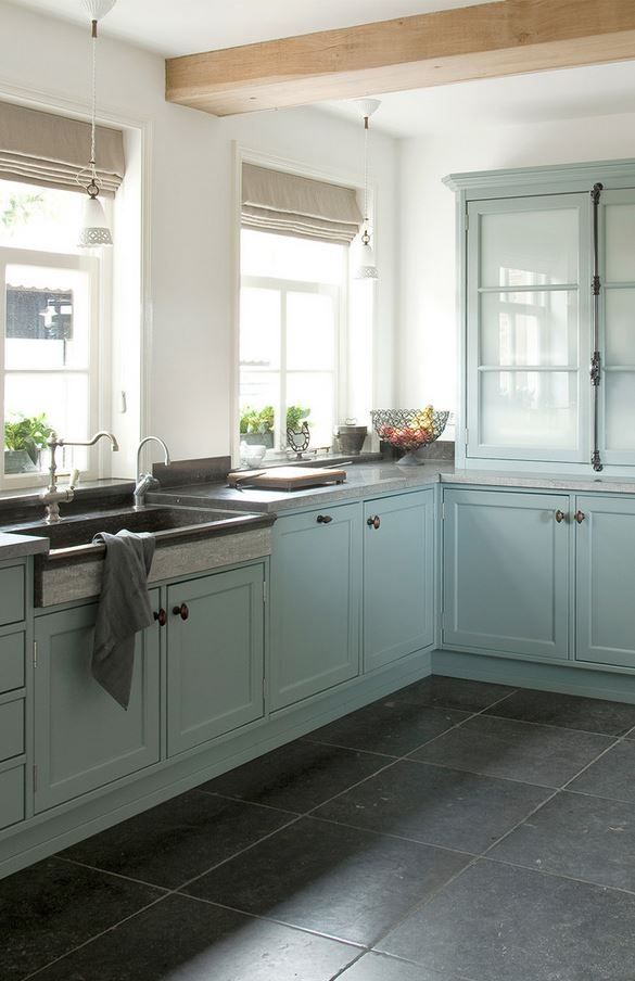 Lovely blue kitchen cabinets. - Brought to you by NBC's American Dream Build...