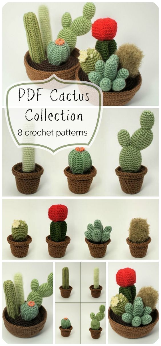 8 different crocheted cactus planters! You can't kill these! they would make gre...