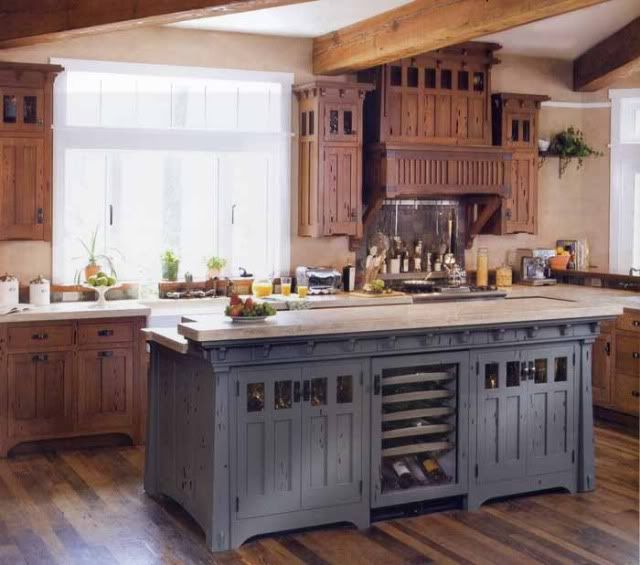 cherry and gray lower cabinets | RE: Blue/gray stained cabinets instead of paint...