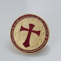 Freemasons Templars Knights red Cross Color Glazed gold Clad Knight Templar Coin