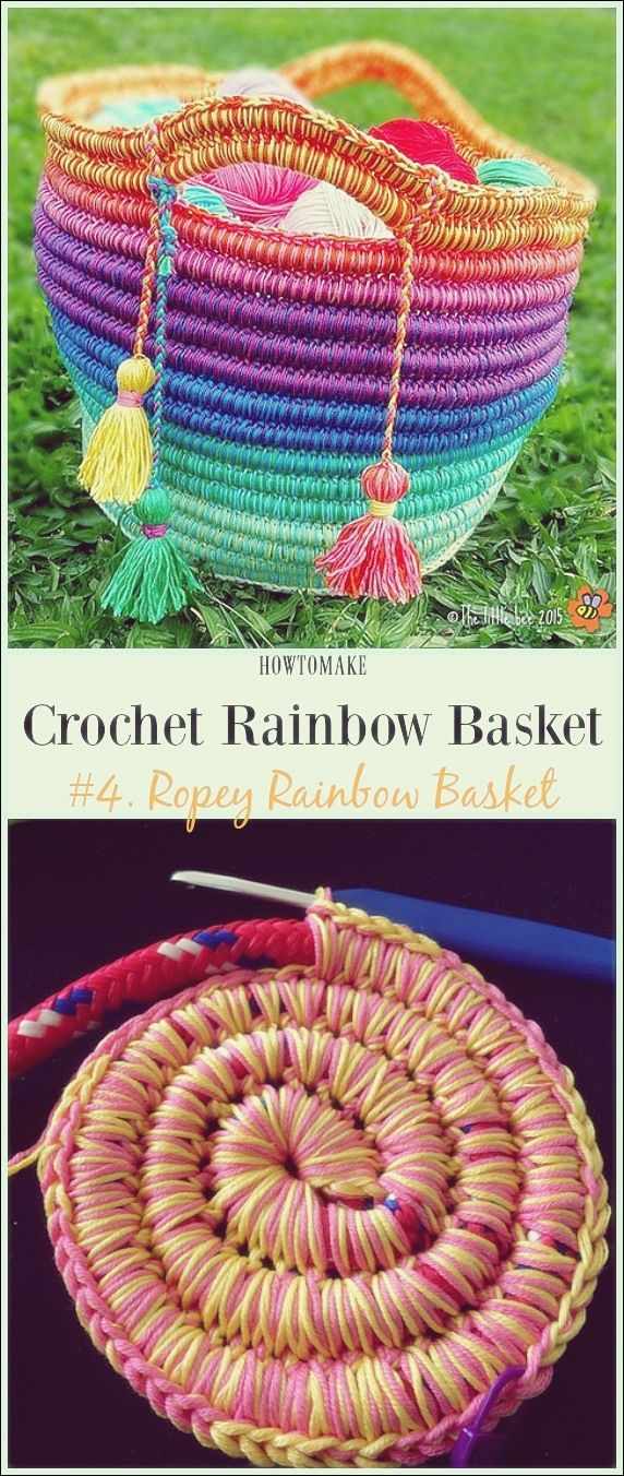 Häkeln Sie Rainbow Basket Free Patterns  #basket #hakeln #patterns #rainbow