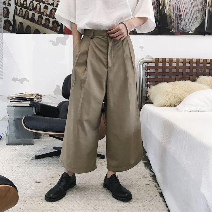 2018 korean summer men's fashion tide simple high street wide leg