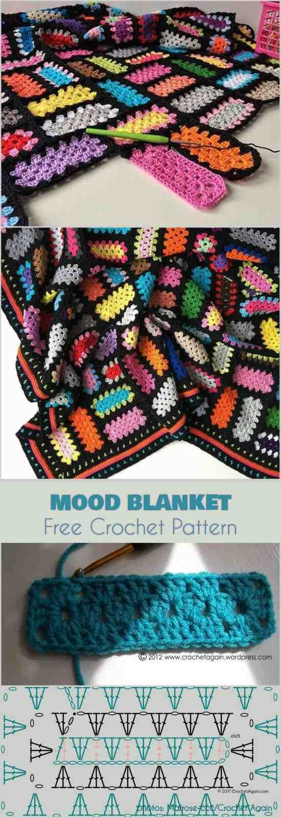 Mood Blanket - Spectacular Snippets and Granny Rectangles Free Crochet Pattern # ...