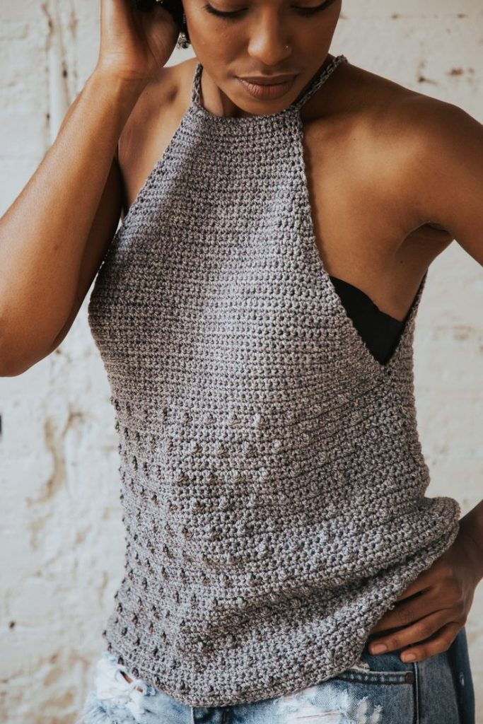 Make the Rebel Cami, a sassy but sweet drawstring halter top crochet pattern fro...