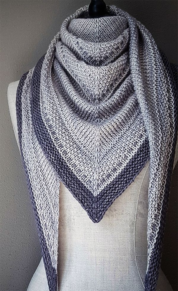 Knitting pattern for Simply Shawl - rows of simple stitches, nice to arrange ...
