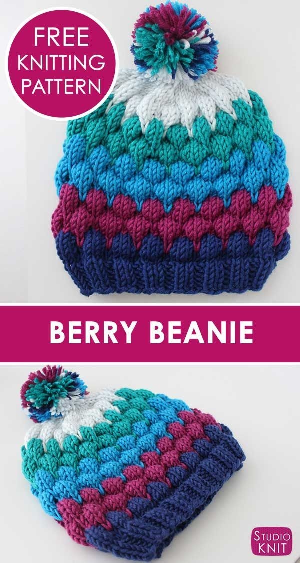 Bubbles and Berries... such pretty texture! Learn how to Knit a Berry Bubble Bea...