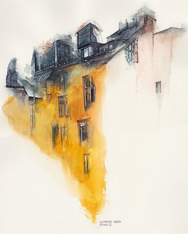 Drawings of European cityscapes from Sunga Park