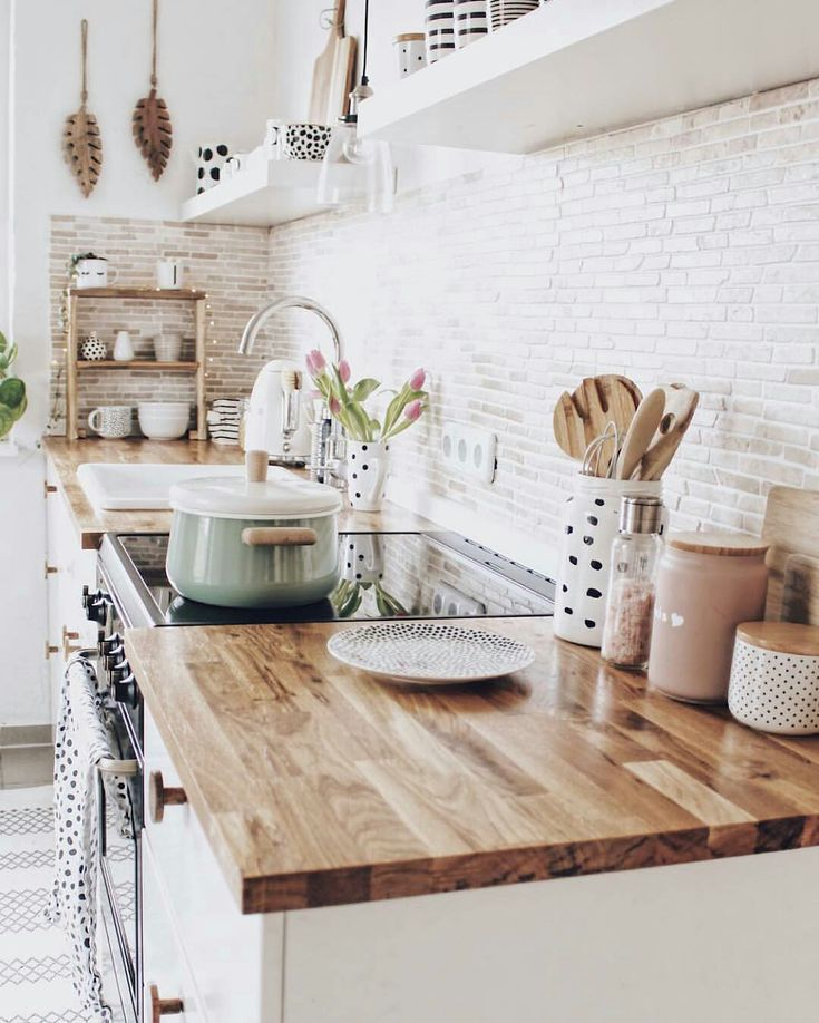 Backsplash white brick butcher block countertops for small, modern ... # workspaces ...