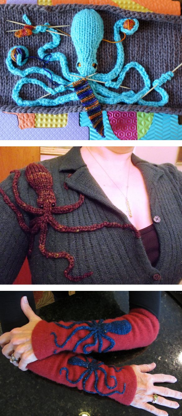 Free Knitting Pattern for Demi Octopus - Must Knit Faster Octopus! This flat oct...