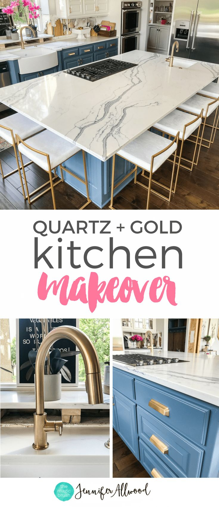 Quartz Countertops Gold Fixtures Gold Faucet Blue Cabinets Blue Kitchen Island b...