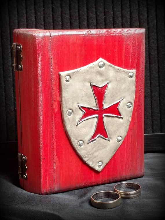 Templar knight box Ring box Gift for man Мedieval decor  Templar cross Wedding ...