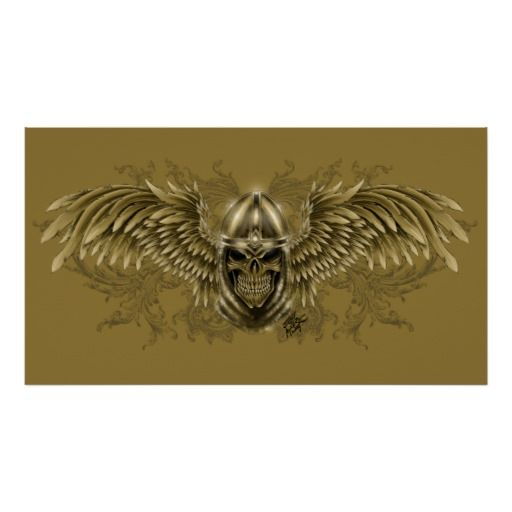 Templar Knight Gothic Medieval Skull with Wings Posters