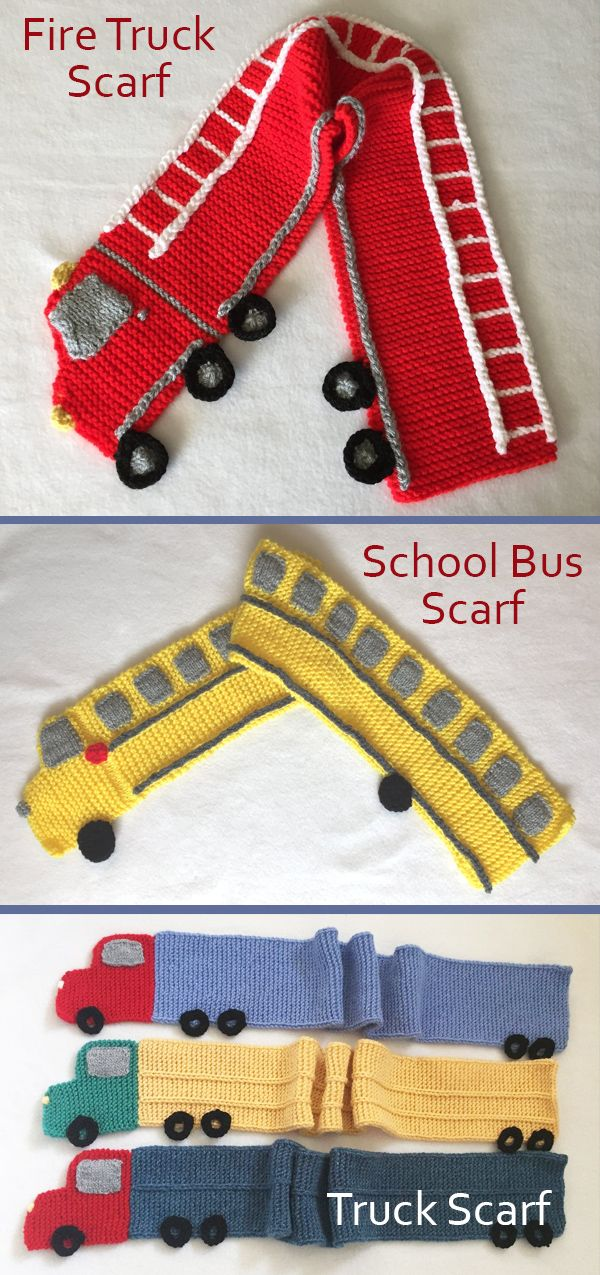Knitting Patterns for Fire Truck Scarf, School Bus Scarf, and Trailer Truck Scar...