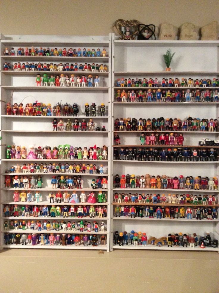 This is some of our Playmobil people. We used shelving that was made for me from...