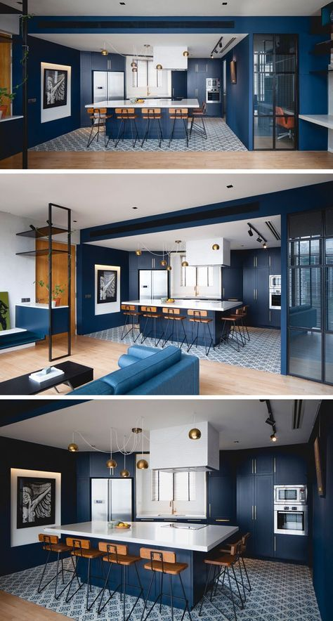 Kitchen Design Ideas - Deep Blue Kitchens // Velvety blue walls and cabinetry wi...