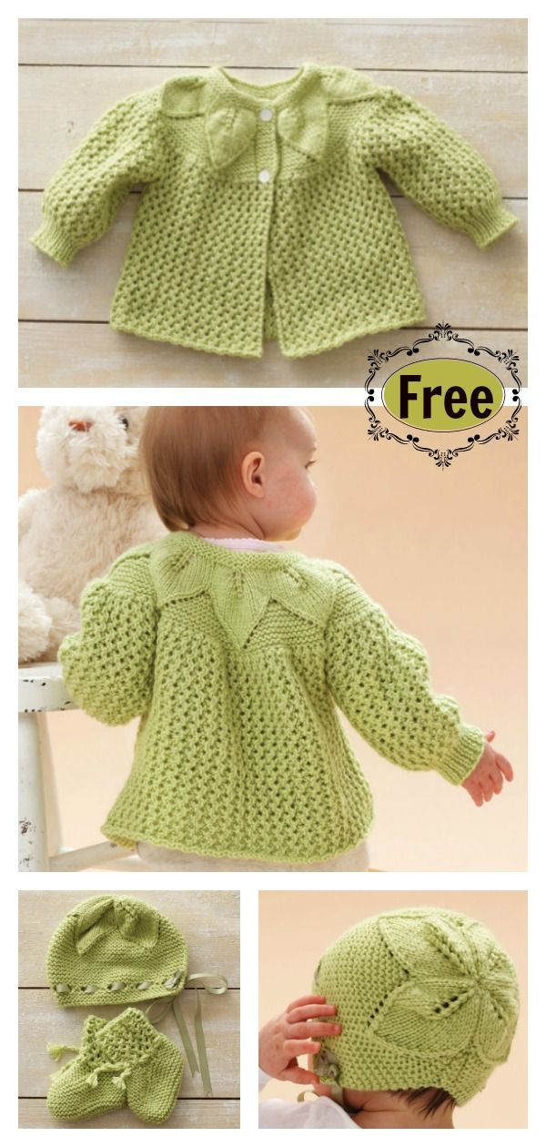 Leaf and Lace Baby Set Free Knitting Pattern #freeknittingpattern #babyknitting ...