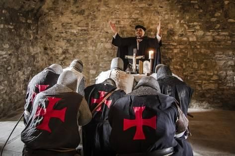 Photographic Print: Historical Reenactment: Templar Knights Praying with Priest ...
