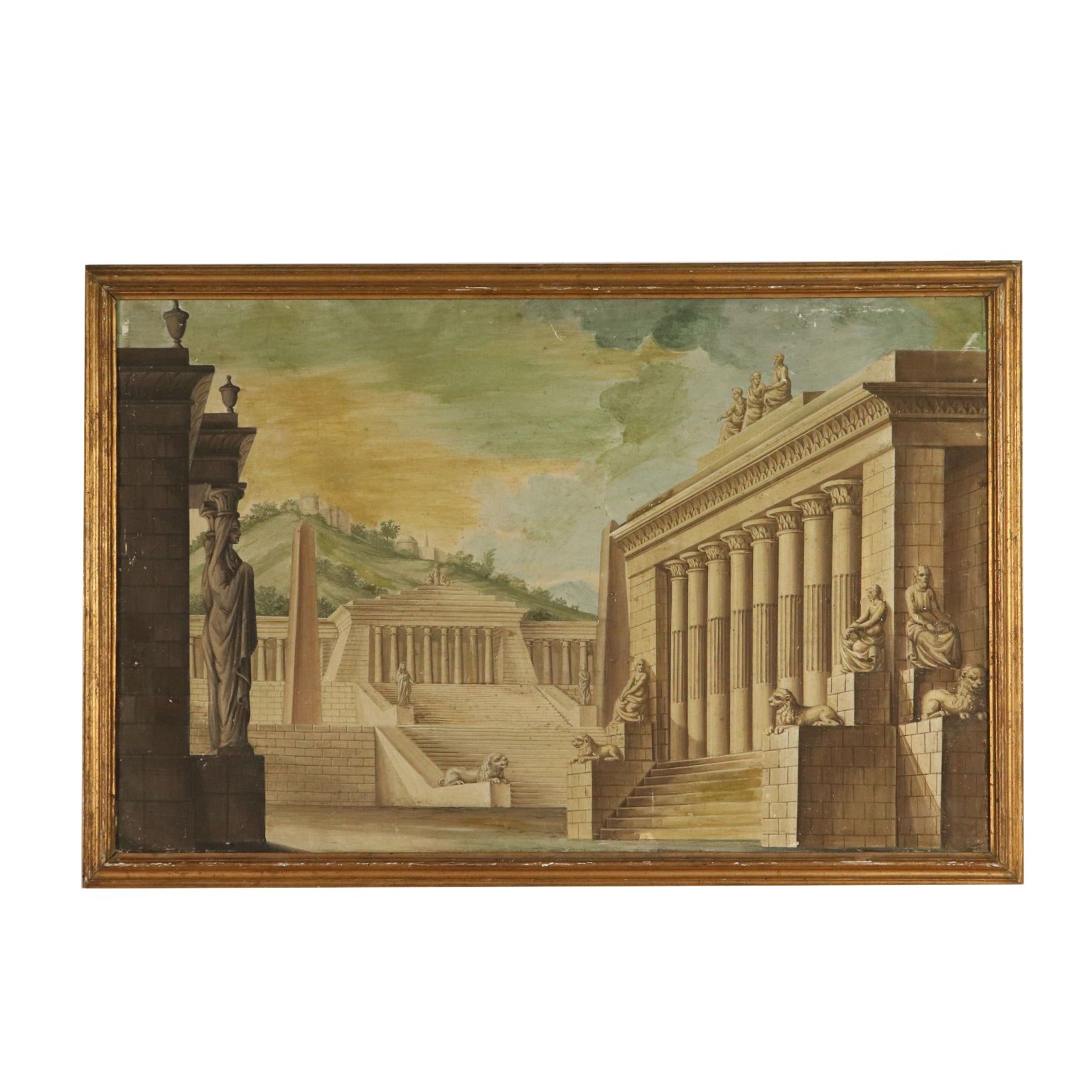 Kunst: Architectural Landscape Gilded Frame Tempera 19th Century