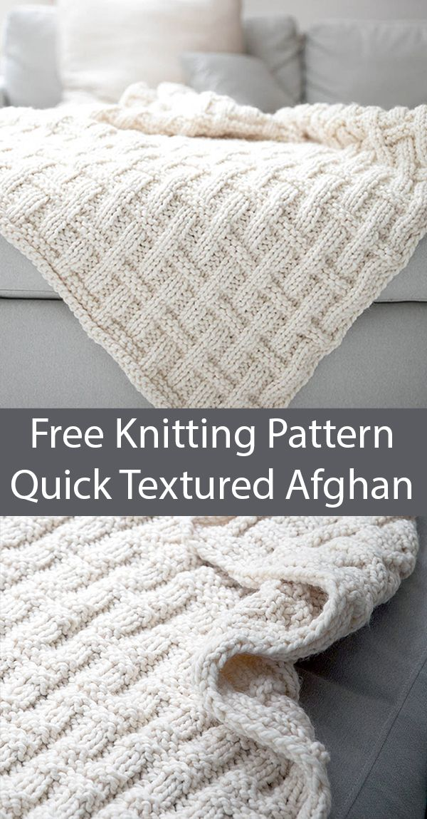 Free Knitting Pattern for Easy Quick Textured Afghan