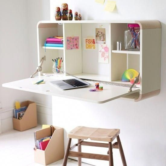 Fold-up desk saves space in a kid's room. | 41 Clever Organizational Ideas For Y...