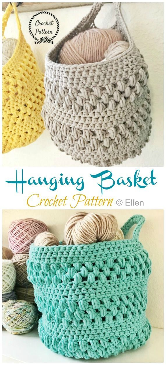 Hanging Sack Basket Crochet Free Pattern - Crocheting - #Crocheting # Crocheting ...