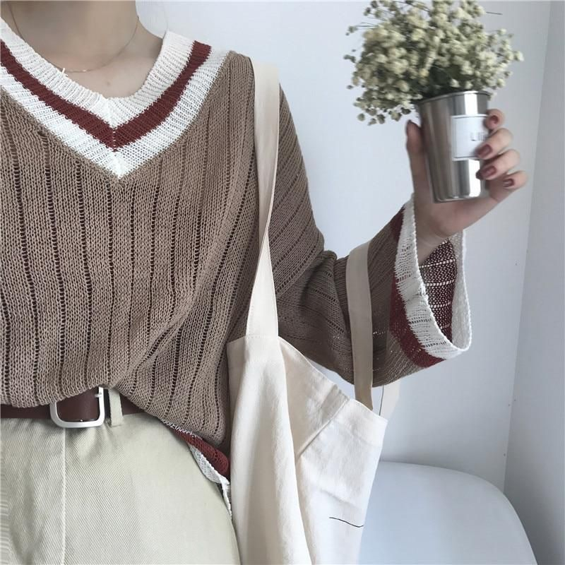 Autumn new Korea ulzzang fashion simple contrast color V-neck long-sleeved sweater ins Harajuku loose casual women sweater from Triple L