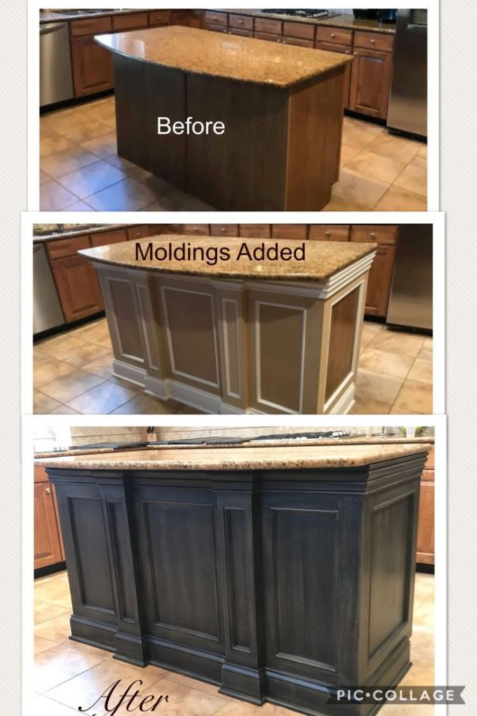 Kitchen Island Transformation from beginning to end! Painted by Kellie's Creations