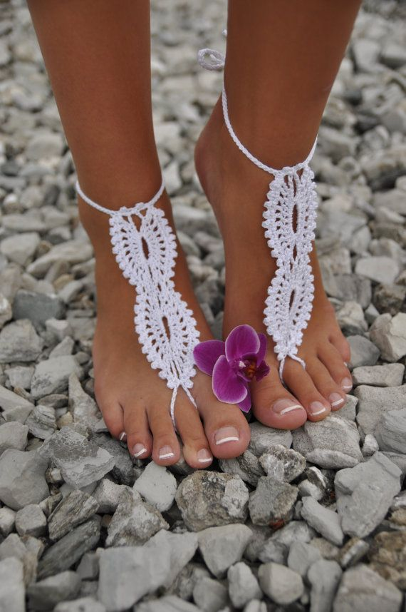 Bride barefoot sandals white crochet barefoot sandals bridal foot jewelry beach wedding barefoot sandals lace up beach wedding sandals