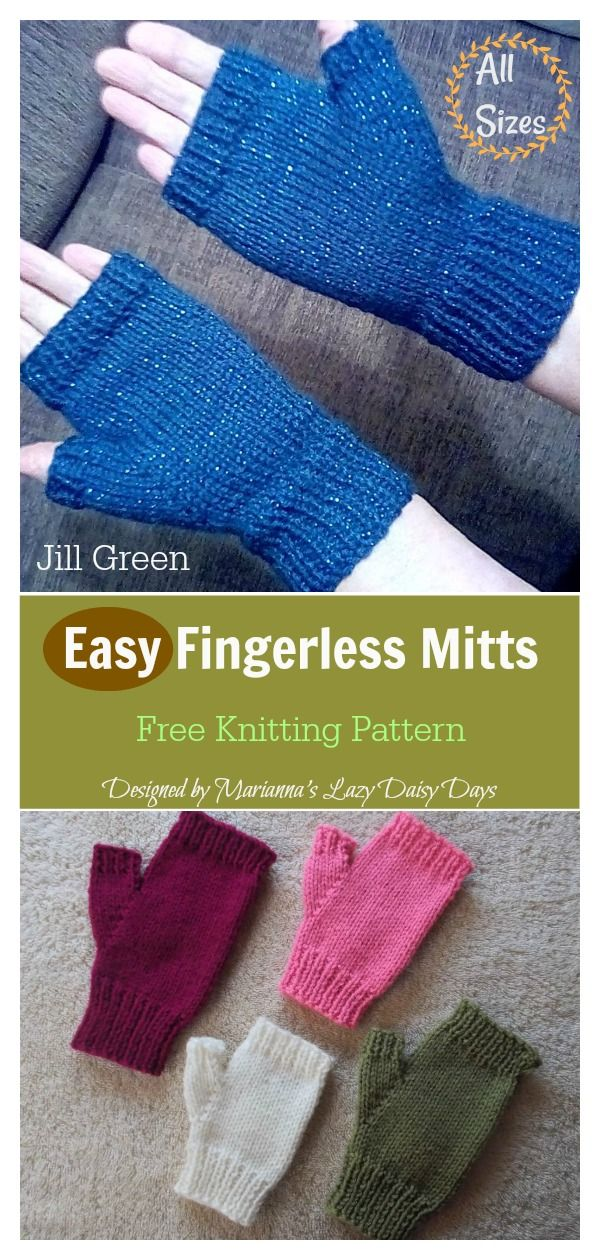 Easy Fingerless Mitts Free Knitting Pattern