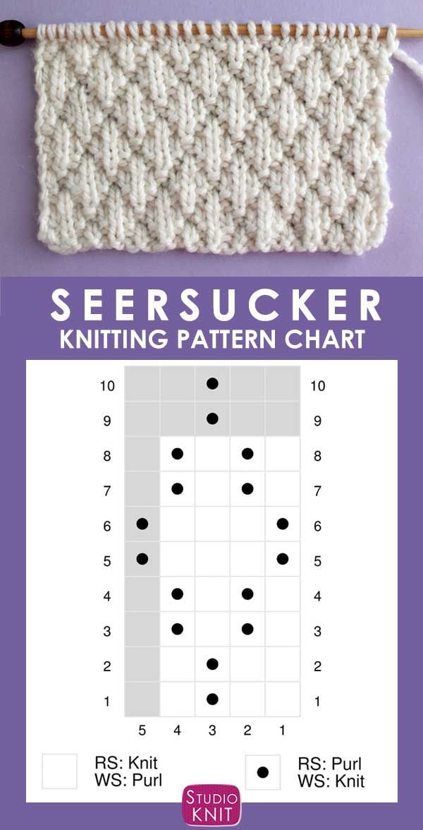 The Seersucker Stitch Knitting Pattern creates textured rows of raised puckered diamonds with an easy 8-Row Repeat of knits and purls