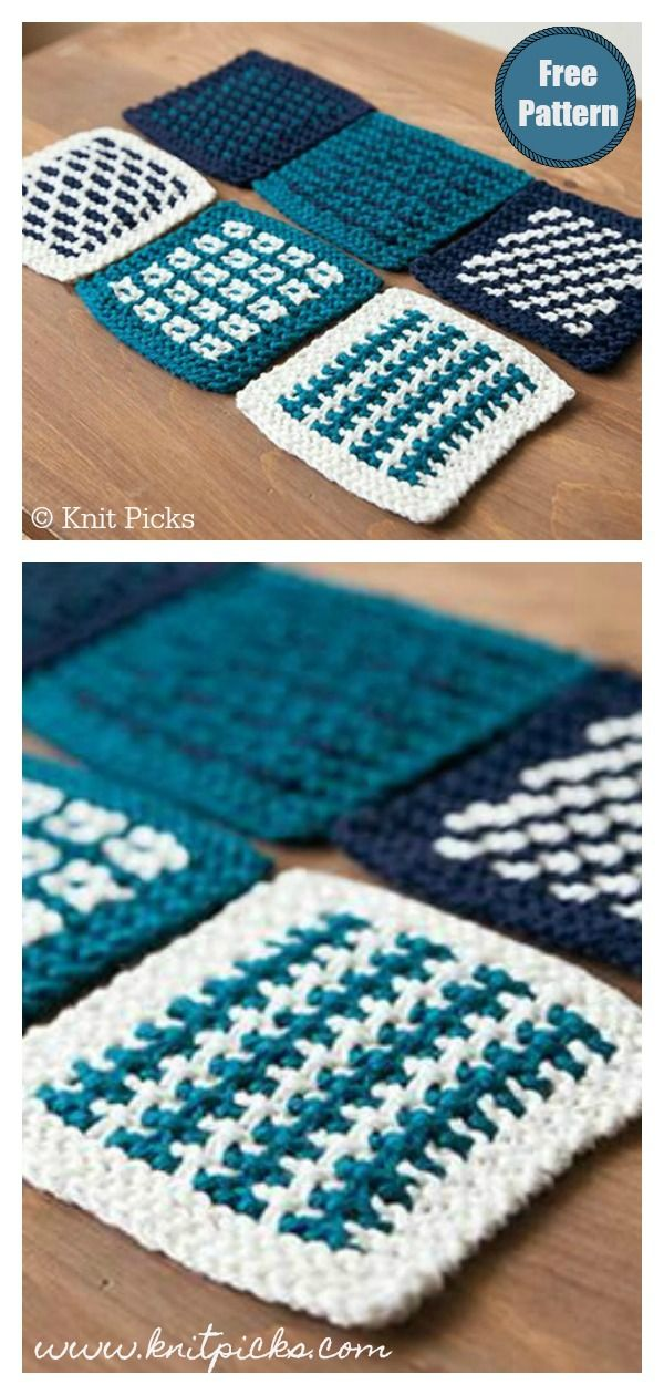 Slip Stitch Square Coasters Free Knitting Pattern #freeknittingpattern #coasters...