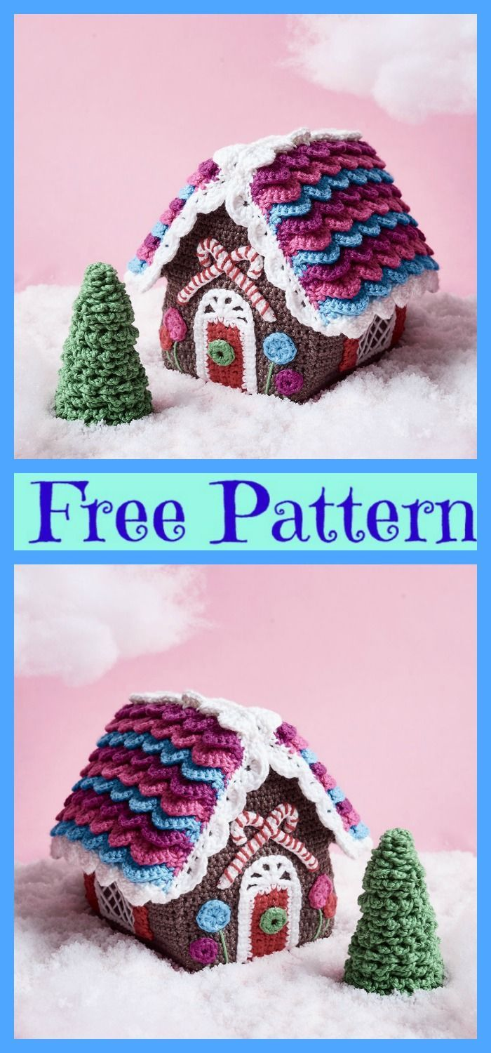 Crochet Candy Cottage Gingerbread Houses - Free Pattern