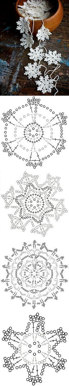 crocheted snowflakes form a garland or Christmas / winter garland ... pattern incl