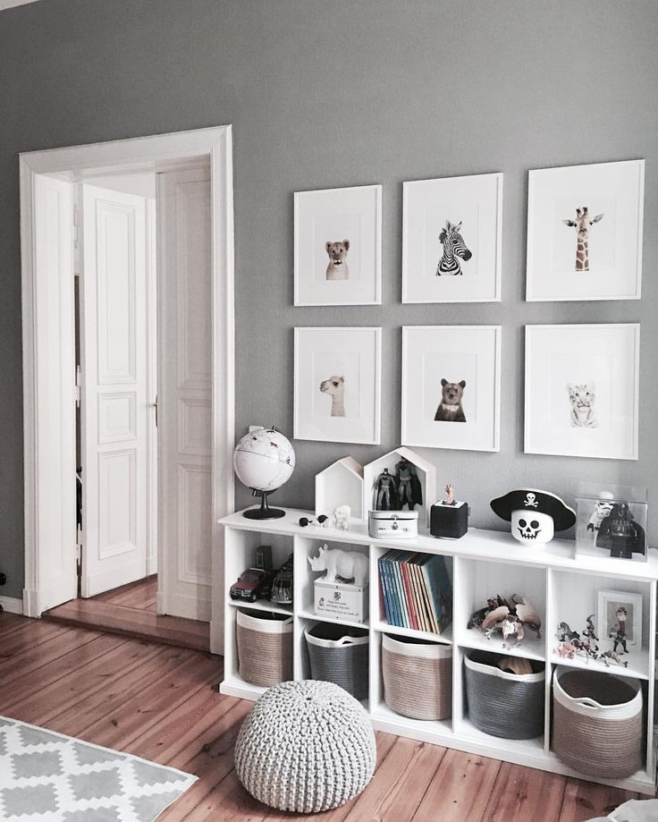 Gray and white bedroom crockery room. Cube bookcases for lots of storage for toys and children's books. Love the Baskets Framed Prints. Boys bedroom idea. - children's room ideas4.tk | Nursery ideas