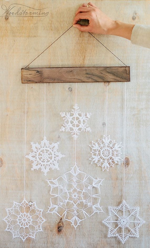 Elegant Christmas decoration - mobile snowflakes - holiday decoration - crunchy snowflakes and wood - hygge home furnishings