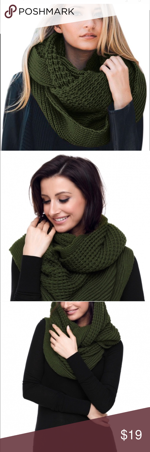Green chunky infinity scarf! Very stylish Bundle up with our chunky green infini...