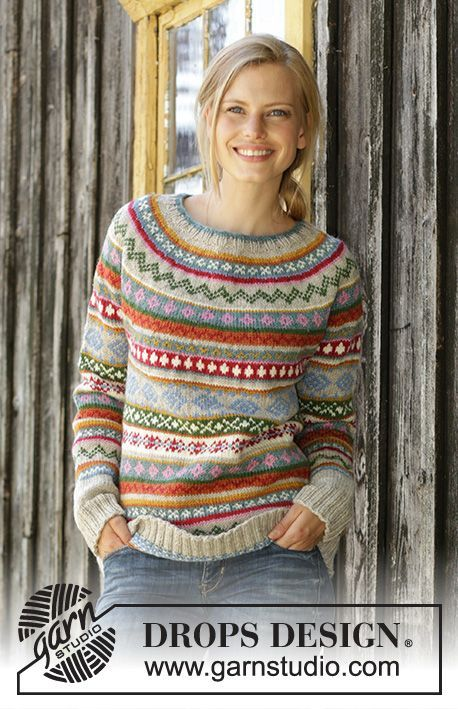 Winter Carnival / DROPS 196-6 - Knitted sweater in DROPS Karisma. The work ...