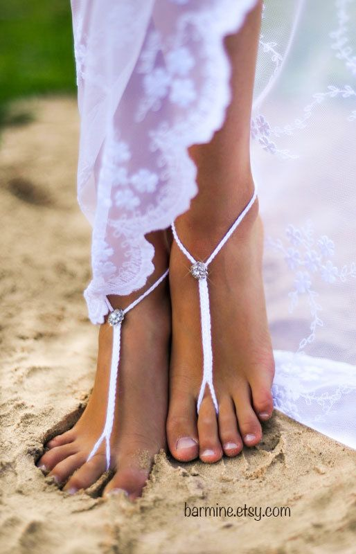 Foot Jewelry, Rhinestone Beach Wedding, White Crochet Barefoot Sandals, Bridal Bridal Shoes, Beach Wedding Shoes, Footless Sandals