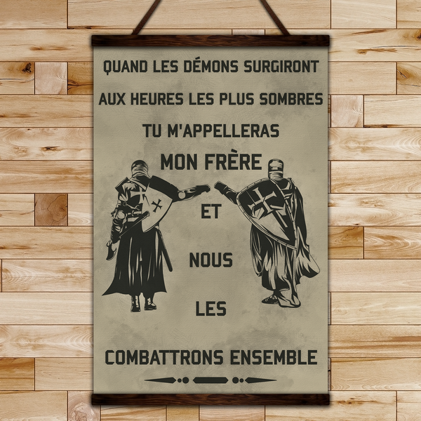 KT012 - Call On Me Brother - French - Knight Templar Canvas With The Wood Frame