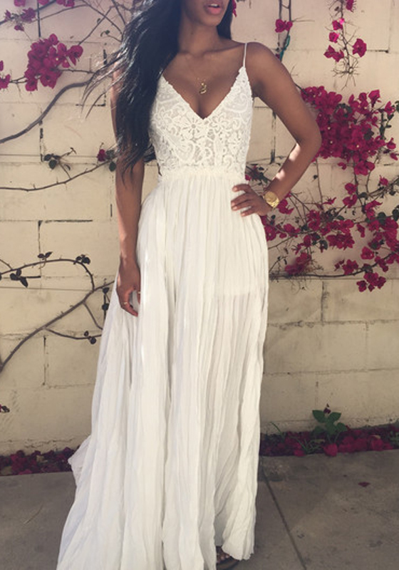 White Spaghetti Straps Lace Backless V-neck Sexy Summer Maxi Dress