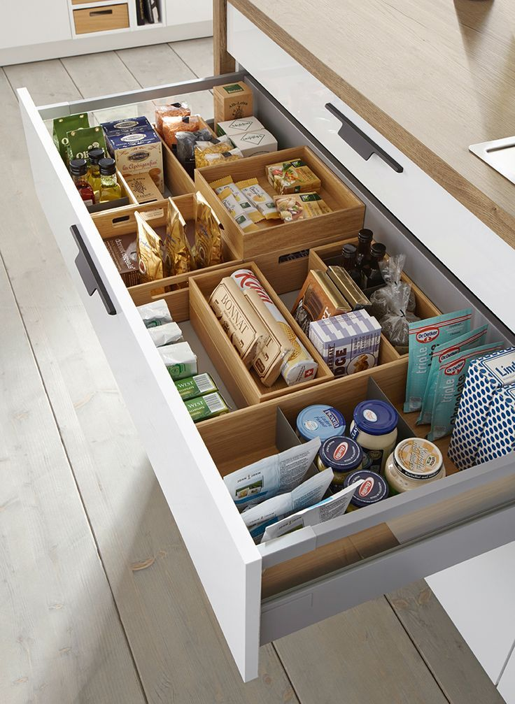 Clever-Kitchen-Storage-Ideas. Schuller Flex Boxes for Drawer Storage.  #germanki...